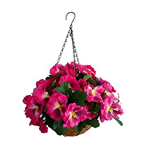 Artificial Flowers Hanging Basket Silk Pansy Flower Red (7.8 inch)