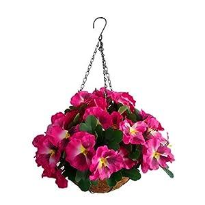 Silk Flower Arrangements Artificial Flowers Hanging Basket Silk Pansy Flower Red (7.8 inch)