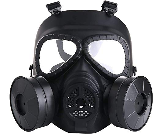 JAYSIMXIN Airsoft Tactical Mask Full Face, Dual Filter Fans Costume Gas Mask, Skull Zombie Soldiers Cosplay Eye Protection Adjustable for Outdoor Sport CS Cosplay
