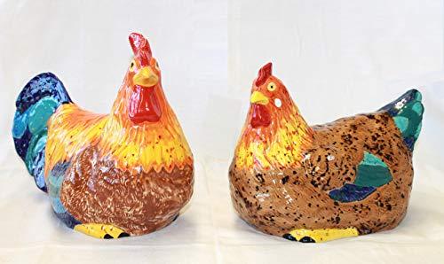 Hahn & Henne sitzend, Hühnerpaar, Handarbeit, Gartendekoration, Unikat - Geschenk