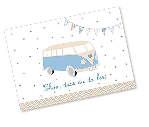 Postkarte Babykarte Glückwunschkarte zur Geburt mit BUS in BLAU SCHÖN, DASS DU DA BIST Zur Taufe und Geburt