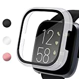 Vitty Hard PC Case with Tempered Glass Screen Protector Compatible with Fitbit Versa 2, Full Coverage Protective Bumpers Cover, Sensitive Slim Touch Screen for Versa 2 Smart Watch Only