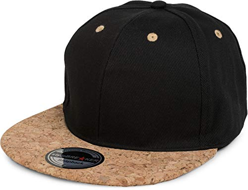 styleBREAKER Gorra Snapback con Visera de Corcho, Gorra de béisbol de 6 Paneles, Ajustable, Unisex 04023051, Color:Negro
