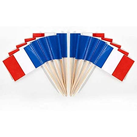 France French Flags Party Food  Cupcake Cake Picks Sticks Decorations Toppers