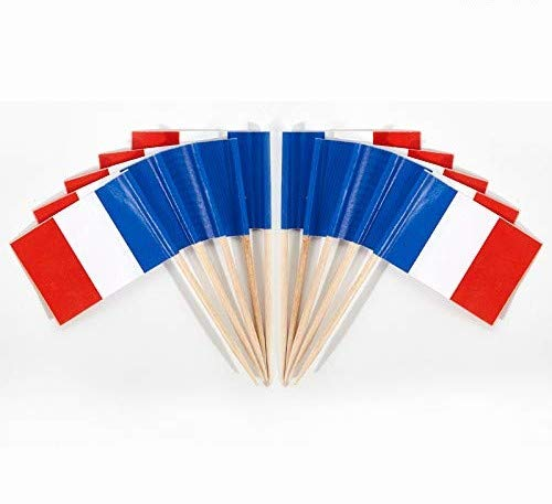 JAVD CYPS 100 Pcs France Flag French Toothpick Flags, Small Mini Stick Cupcake Toppers French Flags,Country Picks Party Decoration Celebration Cocktail Food Bar Cake Flags