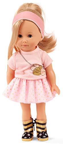 Götz 2013034 Just Like me - Mia im Bienenoutfit Puppe - 27 cm große Stehpuppe mit Langen blonden Haaren, blauen Schlafaugen in einem 7-teiligen Set