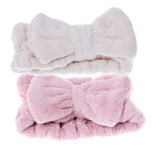 Lurrose 2 piezas diademas de arco diademas de lana suave maquillaje cosmético banda elástica para el cabello para niñas mujeres ducha spa yoga deportes rosa blanco