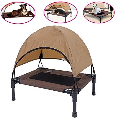 Hundebett Hundeliege Erhöhte Hundebett mit atmungsaktivem Mesh-Hundebett faltbare bewegliche Outdoor & IndoorCot Zelt-Überdachung Shelter Sofort