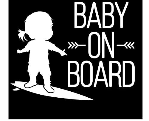 MDGCYDR Pegatinas Personalizadas Coche 15 * 12 Cm Bebé A Bordo Letrero Surf Coche Pegatina Surf Chica Arte Vinilo Coche Calcomanía Negro Blanco