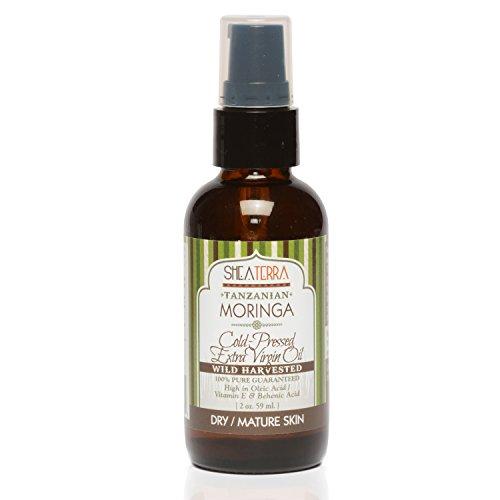 Shea Terra Tanzanian Moringa Cold-Pressed Extra Virgin Oil  All Natural & Organic Oil with Anti-septic & Anti-inflammatory Properties for Acne, Dandruff & Damaged Hair Repair– 2 oz