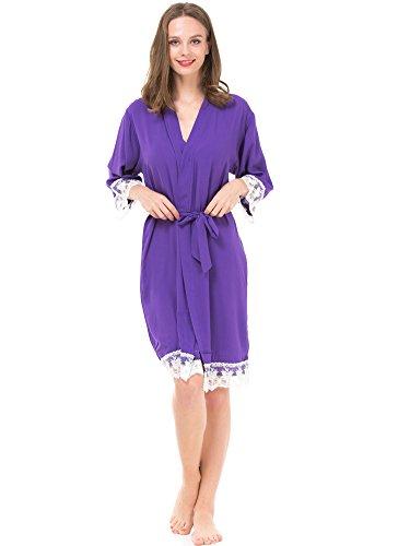 Mr & Mrs Right Damen-Kimono-Bademantel für Braut und Brautjungfer mit Spitzenbesatz - Violett - Medium