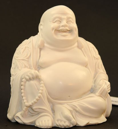L&E Figur Happy Buddha, Lachender Buddha, Hotei aus Alabaster, Glücksbuddha