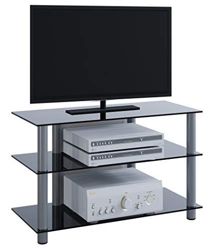 """VCM TV Rack Lowboard LCD LED Konsole Fernsehtisch Möbel Bank Glastisch Tisch Schrank Aluminium / Schwarzglas \""""Sindas\"""""""