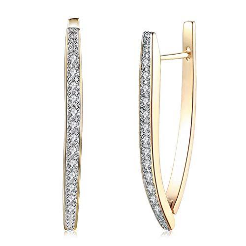 1 par de pinzas para la oreja con incrustaciones de circonita de una sola fila Anillos de moda para dama Pendientes chapados en oro champán Adornos para las orejas-Oro champán
