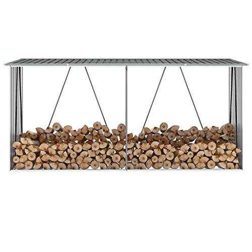 Galapara Stapelhilfe, Kaminholzregal Grau 330x84x152 cm Garten Kaminholzunterstand, Verstellbare Kaminholzaufbewahrung für den Außenbereich aus verzinktem Stahl