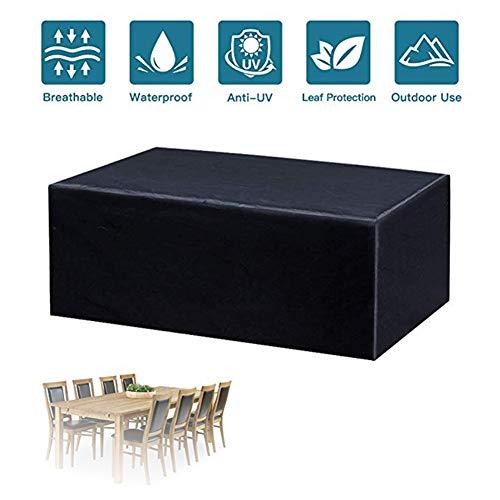 GFSD Jardín Funda Muebles, Cubo de Ratán Resistente Al Agua Porche Lounge Funda for Sofá, Durable Cubierta Silla Mesa Rectangular (Color : Negro, Size : 140×140×90cm)