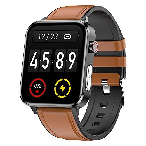FMSBSC Smartwatch Relojes Inteligentes Hombre, Rastreador de Salud con Pulsómetro, Ritmo respiratorio, Monitor de presión Arterial oxígeno en Sangre Seguimiento del sueño, Reloj Deportivo,Marrón