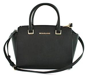 Michael Kors Selma Black Saffiano Leather Medium Top Zip Satchel Bag