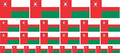 Mini Aufkleber Set - Pack glatt - 4x 51x31mm+ 12x 33x20mm + 10x 20x12mm- Sticker - Oman - Flagge - Banner - Standarte fürs Auto, Büro, zu Hause & die Schule - Set of 26