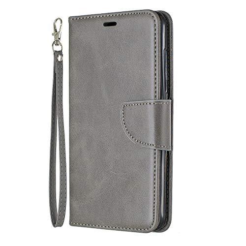 Docrax Handyhülle Lederhülle für Xiaomi Pocophone F1, Flip Case Schutzhülle Hülle mit Standfunktion Kartenfach Magnet Brieftasche für Xiaomi Pocophone F1 - DOBFE150621 Grau