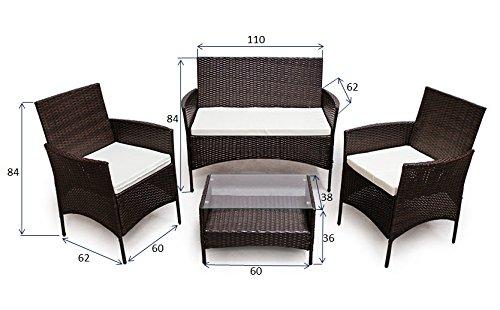 POLY RATTAN Lounge Gartenset Dunkelbraun Sofa Garnitur Polyrattan Gartenmöbel - 6