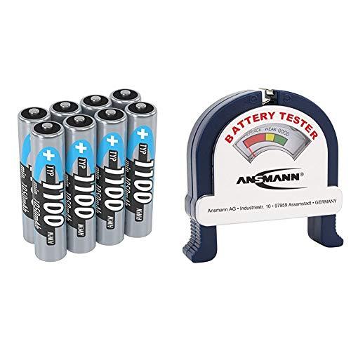 ANSMANN Akku AAA Typ 1100 mAh (min. 1050 mAh) NiMH 1,2 V (8 Stück) - Micro AAA Batterien wiederaufladbar & Battery Tester/Zuverlässiges Batterie- & Akkutestgerät zum Anzeigen der Kapazität