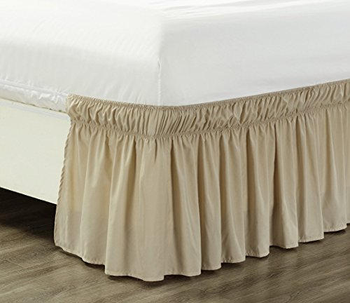 Wrap Around 21' inch Long Fall Ivory / TAN Ruffled Elastic Solid Bed Skirt Fits All Queen, King and Cal King Size Bedding High Thread Count Microfiber Dust Ruffle, Soft & Wrinkle Free.