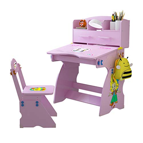 KANGMOON Super Fast Logistics - Children Height Adjustable Wooden Student Desk and Chair Set with Drawers and Bookshelves, Child Student Writing Table Kids Bedroom Study Table for Girls Boys