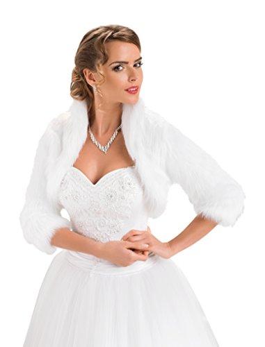 OssaFashion Pelz Bolero Braut Hochzeit Fell Jacke aus künstlichem Fuchspelz mit 3/4 Langen