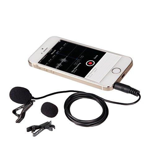 Movo Microfono lavalier da Risvolto PM10 a condensatore multidirezionale con Fermaglio per Apple iPhone, iPad, iPod Touch, Smartphone Android & Windows
