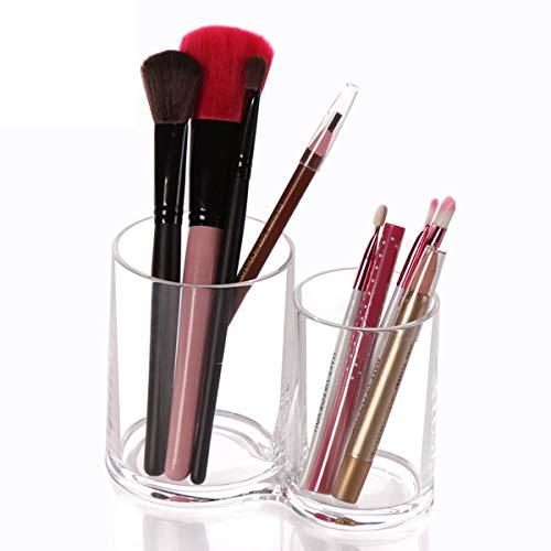 Ruiqas Caja de almacenamiento de brochas de maquillaje transparente para maquillaje cosmético, organizador de almacenamiento de joyas