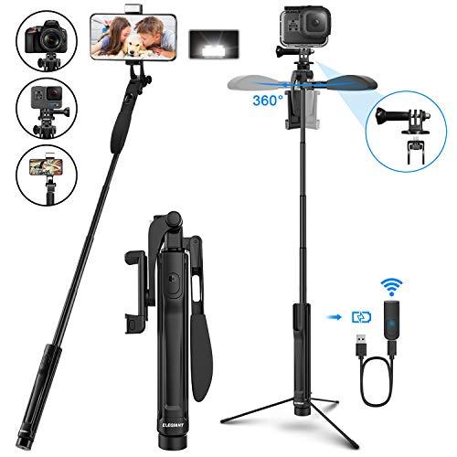 ELEGIANT Palo Selfie Trípode, Selfie Stick Bleutooth Móvil Aluminio 4-EN-1 Giratorio 360 ° con Mango Balance de Video + Control Remoto + Luz LED para Gopro, Teléfono Inteligente Menos de 6.8 Pulgadas