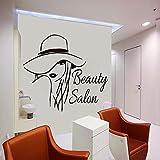 Salón de belleza Etiqueta de la pared Chica Silueta Vinilo Papel pintado extraíble Decoración del...