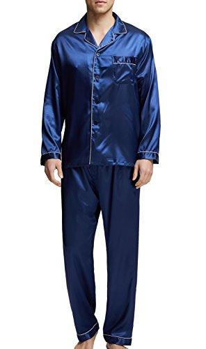Sanraflic - Pijama - para Hombre Azul Blue with White Piping