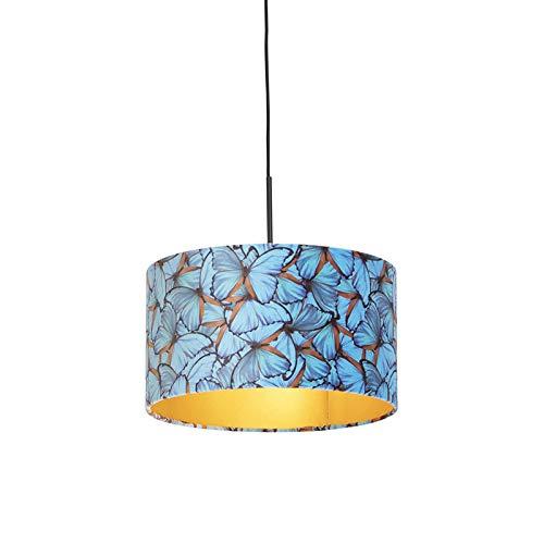 QAZQA Clásico/Antiguo Lámpara colgante pantalla terciopelo mariposas int. dorado 35cm - COMBI...