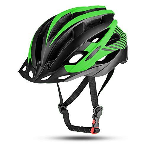 Youth Bike Helmet with LED Light, Adjustable Bicycle Helmet Lightweight Youth Helmet with Detachable Visor for Kids Boys and Girls, 54-57CM – Black Green