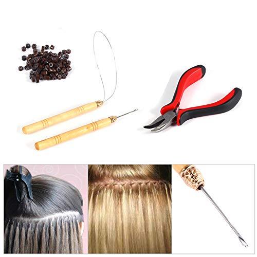 Cuentas de extensión de cabello, bucles de extensión de cabello confiables, seguros, marrones, estable para extensiones de cabello de plumas, cabello casero