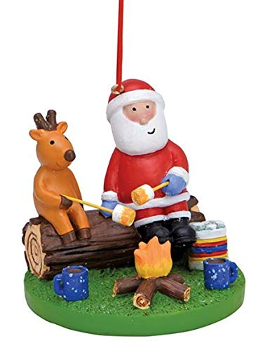 Wowser Santa and Reindeer Enjoying Marshmallows by The Fire Ornament, 2 1/2 Inches
