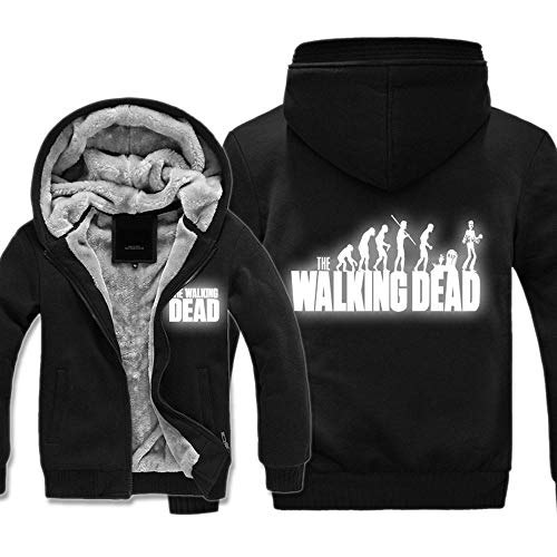 BINGFENG Kapuzenjacke Strickjacke - The Walking Dead Luminous Reflektierende Druck Männer Kapuzenpullover Beiläufige Warm Sweater Mit Reißverschluss Stitching Langarm-Sweatshirt - Teen Gift B-S