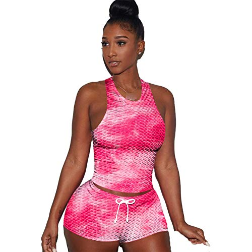 Mujeres Bobble Butt Yoga Trajes De 2 Piezas Entrenamiento De Entrenamiento Trajes Tie Dye Shorts Leggings and Sports Stead Set Fitness Ropa C-XS