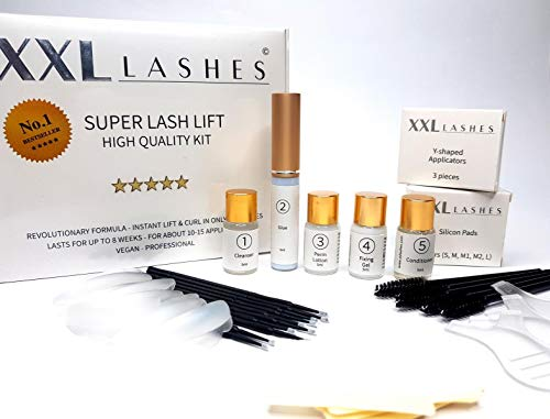 XXL Lashes Lash Lift Kit, Wimpernlifting und Wimpernwelle Set, Bestseller, revolutionäre Formel, 2-5 Min. Einwirkzeit, 10-tlg Set für ca 12-15 Anwendungen inkl. Anleitung
