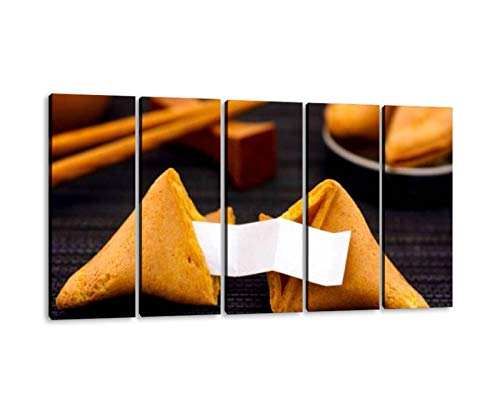 KiiAmy 5 Panels Art Wall Decor Fortune Cookie with Clear Blank Paper Strip Another Cookie and Artwork Modern Canvas Prints Office Bedroom Home Decor Framed Painting Ready to Hang (60''Wx32''H)