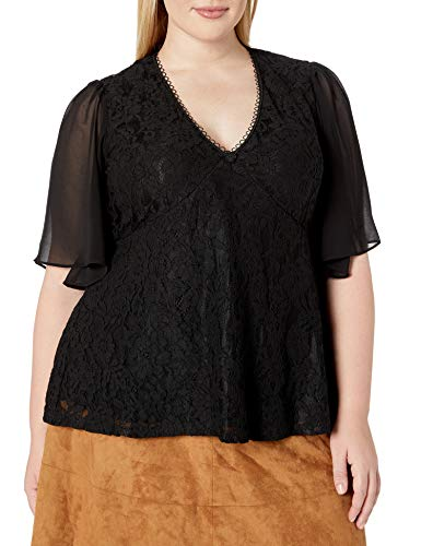 City Chic Women's Apparel Women's Plus Size V-Necked top with Sheer Sleeve Detail, Black, 20