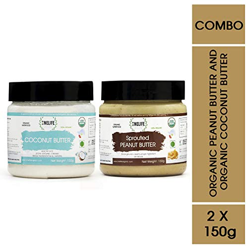 ONELIFE Organic 100% Certified Organic Sprouted Peanut Butter and Coconut Butter Combo Pack - 150 GMS Each - Healthy Bread Spread- Vegan Gluten Snacks