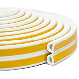 Keeping Fun Indoor Weather Stripping,Self Adhesive Foam Window Seal Strip for Doors and Windows Soundproofing Weatherstrip Gap Blocker,7/20-Inch x 6/25-Inch x 8-Feet,(2 Seals Total 16Feet) White