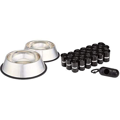 Amazon Basics - Ciotola per Cani in Acciaio Inox - Confezione da 2 &Sacchetti per bisogni dei Cani, con Dispenser e Clip per guinzaglio,300 unità