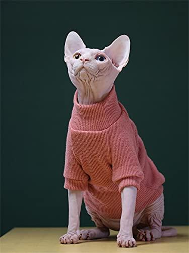 WMXING Ropa para Gatos, Ropa para Gatos Sphynx, suter de Cuello Alto para Gatos, Camisa elstica para Gatos, suter Grueso para Gatos-Melon Rojo_L-