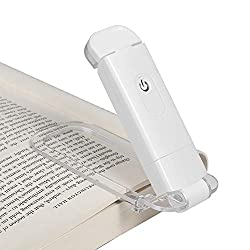 Lightweight, rechargeable, warm book light that folds flat for easy storage, and its clip does not hides the text behind