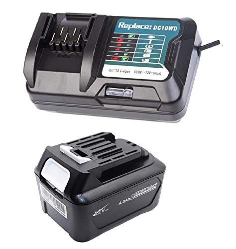 Batería URUN 12V 4A 1041B + DC10WD 10.8V-12V Cargador rápido con pantalla LED compatible con Makita DC10WD DC10SB DC10WC BL1015 BL1016 BL1021B BL1041B BL1020B BL1040B