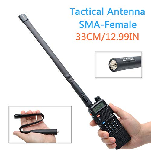 ABBREE SMA-Female Dual Band VHF/UHF 144/430MHz High Gain Foldable CS Tactical Antenna for Baofeng BF-F8HP BF-888S GT-3 UV-5R UV-82 Two Way Radio (13in)